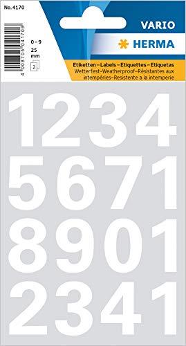 Herma 4170 Zahlen, 25mm, 0-9, wetterfest, Folie weiß, 1 Blatt