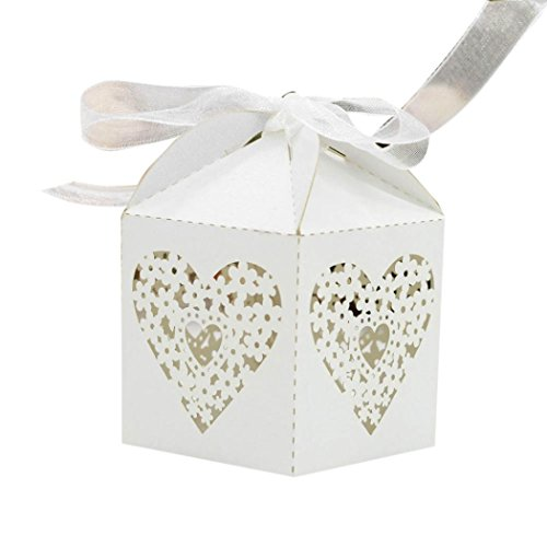 Candy Bags,Elevin(TM) 50pcs Wedding Favour Favor Sweet Cake Gift Candy Boxes Bags Anniversary Party (L)