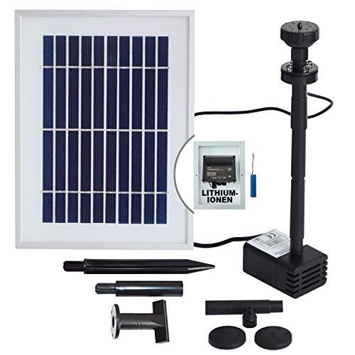 AMUR Innovative Solar Teichpumpe Solar Springbrunnen Solar Wasserspiel Solar-Teichpumpen-Set für den Gartenteich mit Li-ion-Akku Led-Beleuchtung Solarpanel im stabilen Alu-Rahmen - Oasis 200-3 li&led