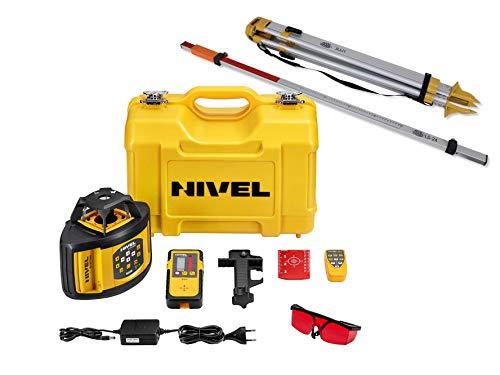 Baulaser Nivel System NL520 Rotationslaser manueller Neigung für horizontale/vertikale Anwendung, viel Zubehör (Empfänger, Fernbedienung, Stativ, Laser-Latte, stabiler Koffer, Li-Ion Akku, Ladegerät)