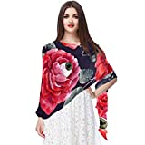 Lightweight Scarf Halloween Roses With Eyeballs And Crows Watercolor Shawl Wrap Women Infinity Oblong Chiffon Voile Fashion Scarves