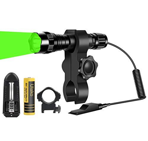 Ulako U70 Green Light Flashlight 350 Yards Adjustable Spotlight Floodlight Torch for Hog Pig Coyote Varmint