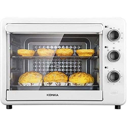 Horno Eléctrico de Sobremesa 32L Mini Horno eléctrico Tostadora Multi Cocina Control de Temperatura Ajustable y Temporizador para Hornear Pizza de la Torta (Color : White)