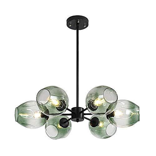 WYBW Lámpara de araña, bola de cristal moderna Sputnik Lámpara colgante, Creative Globe 6 luces Starburst Lámpara de cocina Burbuja ajustable Decoración industrial Lámpara de techo/lámpara de techo