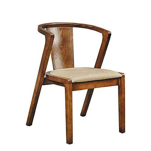 HYY-YY Silla de comedor 2 sillas de tela Silla de comedor estilo retro Silla de comedor estructura de madera maciza de alta elástico de esponja de la espuma cómodo cojín Sillas de cocina (Color: albar