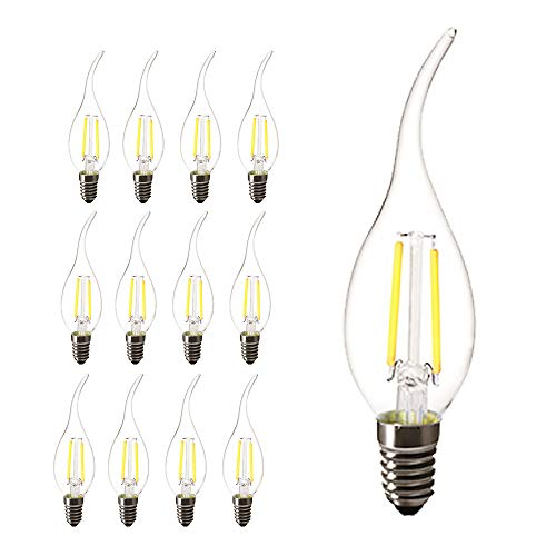 E14 Lampadine a filamento LED, forma candela a colpo di vento 2 Watt 200LM / 20W Equivalente a incandescenza, C35 Edison Lampadine, Luce bianca 6000K, 12-Pack