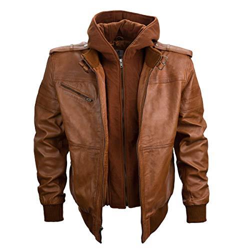 Z8 Justin Leather Bomber Jacket for Men - Detachable Hood Mens Leather Jacket