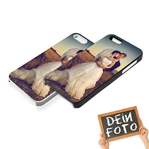 PixiPrints Handyhülle mit eigenem Foto und Text * bedrucktes Schutz Cover Case, Kompatibel mit Apple iPhone 5 / 5S / SE, Hardcase Farben:Schwarz (Matt)