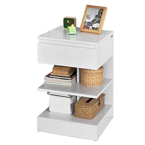 SoBuy® Mesita de Noche con 1 cajón y 2 estantes, Consola, Mesa Auxiliar para salón Comedor,FBT49-W,ES (Blanco)