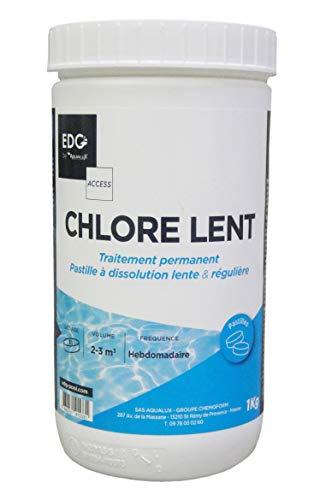 Chlore Lent Piscine - Action Permanente Longue Durée - Idéal Piscines Hors Sol - Pastilles 20G - Pot 1KG - Gamme Traitement Et Accessoires Piscine EDG Access