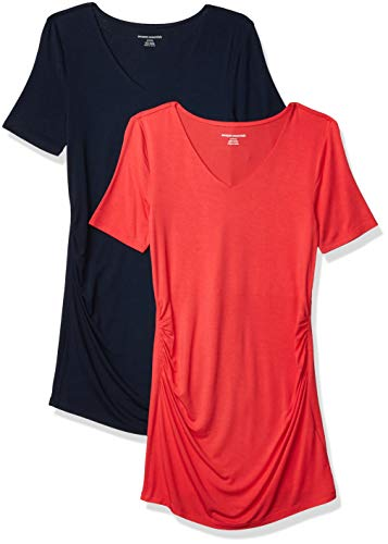 Amazon Essentials Camiseta Cuello en V y Manga Corta. Fashion-Maternity-t-Shirts, Hibisco/Azul Marino, XXL