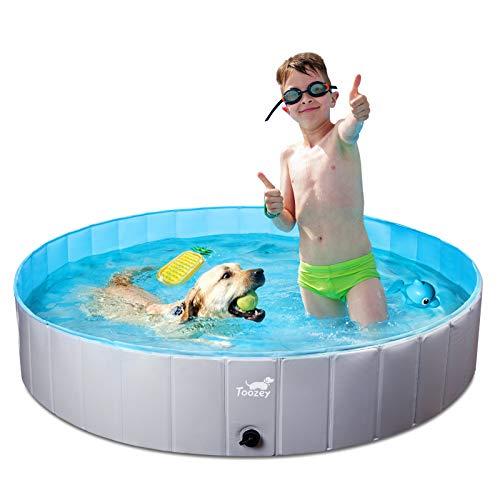 Toozey Hundepool für Große & Kleine Hunde, 80cm / 120cm / 160cm Faltbare Hunde Pools, Planschbecken für Kinder und Hunde, Hundebadewanne, 100% Sicher & Umweltfreundlich, 1 Jahre Garantie