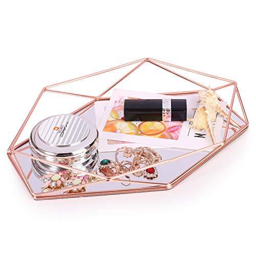 Bandeja decorativa de prisma de metal dorado, para joyas, joyas, cosméticos, maquillaje, organizador de mesa, escritorio, decoración de mesa, regalo para mujeres y niñas, cumpleaños, Navidad