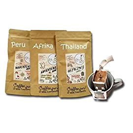 Life is You! Coffee Bags Trio 15 Bags of Three Continents: Ethiopia, Thailand and Peru Hand Roasted Coffee for Brewing by Hand Sampling Set & Beautiful Coffee Gift 100% Arabica