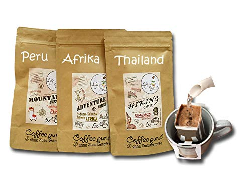 Life is You! Coffee Bags Trio | 15 Bags (für Becher) von drei Kontinenten: Äthiopien, Thailand und Peru | Filterkaffee zum Aufbrühen von Hand | Probierset & Schönes Kaffee Geschenk | 100% Arabica