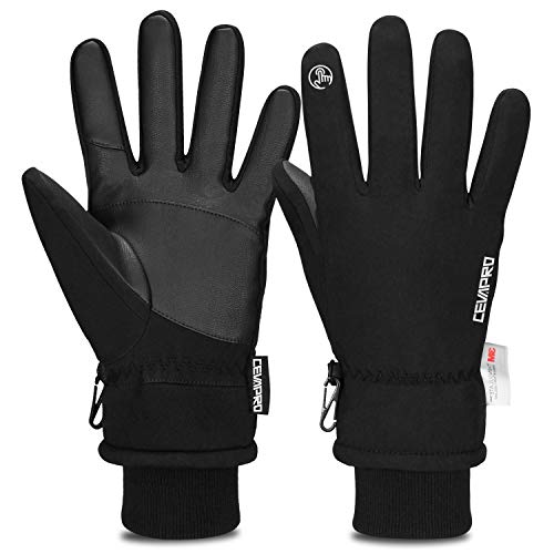 TOLEMI Cevapro Winter Gloves for Men, -20℉ Waterproof Ski Gloves 3M Thermal Insulated Gloves Touchscreen Gloves Snowboarding Gloves for Cycling Running Climbing Hiking Outdoor Sports(Black, L)