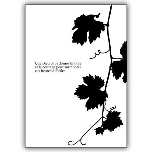 In de set: trouwkaart met wijnblad: Que Dieu vous donne la force. • Mooie bijstandkaart om de achtergebleven met diep medeleven te condoleren. DIN A6