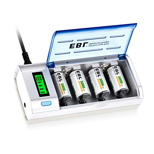 EBL 906 Smart Charger for AA AAA C D 9V Rechargeable Batteries with 4...