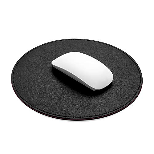 ProElife Premium Mouse Pad Mat 8.66 inch Small Cute Mousepad Waterproof PU Leather Round Mouse Pad with Stitched Edges Anti Slip Base for Home Office School Gaming Computer Laptop Accessories (Black)