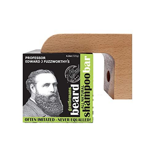 Professor Fuzzworthy's ACV Beard Shampoo Ba & Magnetic Soap Holder Men's Grooming Gift Kit | 100% Natural Beard Wash with Organic Ingredients- Eco Friendly Wooden Soap Dish Dispenser for Shower & Bath