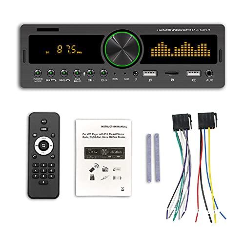 ZWMBAOR Reproductor Mp3 Coche con Doble USB,con Pantalla Reloj/Salto Espectro,Control Remoto Inalámbrico,Que Puede Pre-almacenar 30 Estaciones De Radio,para Modificación