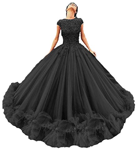 Topashe Women's Tulle Beaded Quinceanera Dresses Lace Appliques Cap Sleeves Ball Gowns