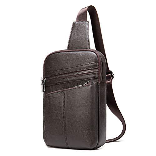 Shoulder Backpack Sling Bag Chest Pack for Men, Sling Backpack Chest Bag Vintage Cowhide Leather Outdoor Sport Hiking Travel Crossbody Shoulder Bag Daypack Anti Theft Travel Outdoor Shoulder Crossbody