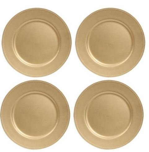 """Gold Plastic Plates with Beaded Rims, 13"""" (Standard Packaging)"""
