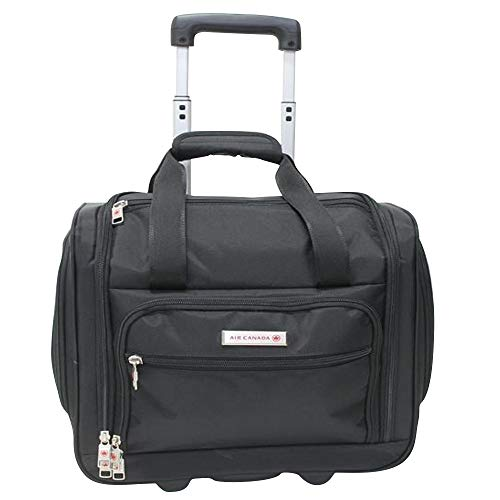 Air Canada 16 Inch Carry On Soft-side Rolling Underseater Bag - Black