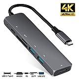 AIFEIMEI USB type C ハブ 6in1 usb c ハブ マルチポート タイプC アダプタ 4K解像度 USB C to HDMI出力/USBタイプC高速PD充電ポート/SD+MicroSD カードリーダー/2*usb3.0 ポート MacBook Pro 2019/2018/2017, Samsung Galaxy S9/S8, Surface Book 2, Dell XPS 13/15, Pixelbook,USB C デバイス対応(スペースグレイ)