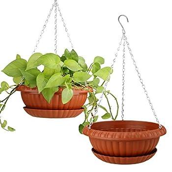 2pcs Hanging Planters 10.63  Hanging Flower Pots Plastic Plant Hanger Holders Hanging Basket for Indoor Outdoor Garden Herb Succulent Ceiling Wall Window Hanging 2pcs Hanging pots