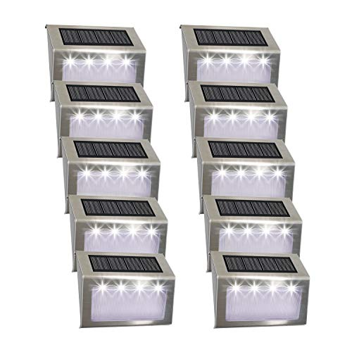Luces Solares para Exterior Jardín 4LED Easternstar, Lámparas Solares impermeable IP44 Exterior, Solar Panel del acero inoxidable, 4 LED Ilumina a las escaleras, pared,patio y jardín etc.(10 unidades)
