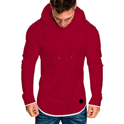manadlian Sweat à Capuche Homme Automne Tops de Sport Hiver Sweat-Shirt Manteau Veste Hoodies Slim Fit Sweat Manches Longues Hauts de Poche Pull-Over Casual Sweatshirt