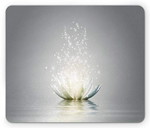 Lotus Mouse Pad, Lotus Petals Surreal Boho Inspiration Relax Exotic Waterlily Picture, Standard Size Rectangle Non-Slip Rubber Mousepad, Light Grey Silver Coconut