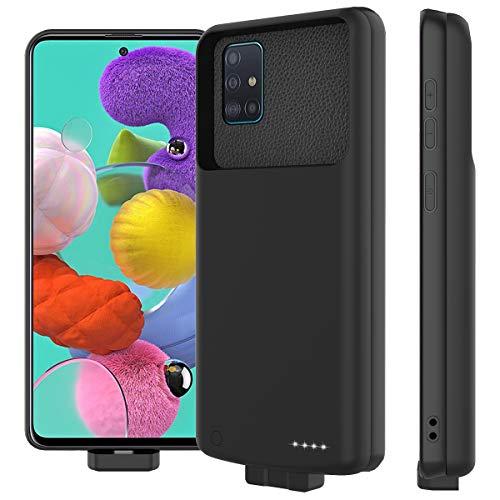 LifeePro Compatible con Samsung Galaxy A51 Funda Batería, 7000mAh Recargable Externa Batería Pack Power Bank Backup Ultra Delgada Portátil Carga Caso de Prueba de Choque Carcasa Protector Negro
