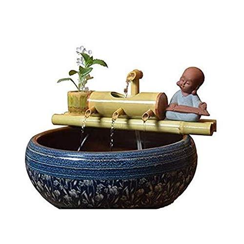 WishY Bambusbrunnen Garten Bambus Wasserspiel Brunnen Garten im Freien Moderne Dekoration Handgemachte Skulptur Statue Handwerk Hochzeitsgeschenk Teich Aquarium Hof,19.69in