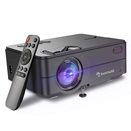 """Mini Projector for Outdoor Movies, Portable Projector Support 1080P 120"""" Display Home Theater Movie Projector with 50,000 Hrs LED Lamp Life, Compatible with TV Stick, PS4, PC, HDMI, VGA, AV and USB"""