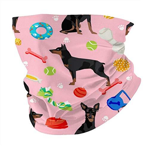 Nother Pañuelo unisex de microfibra para la cabeza, diseño de perro y juguetes, color rosa, color negro