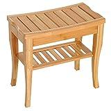 HOMCOM Long Bamboo Shower Bench Seat, 20' Wooden Spa Shower Stool with Underneath Storage Shelf Shoe Organizer