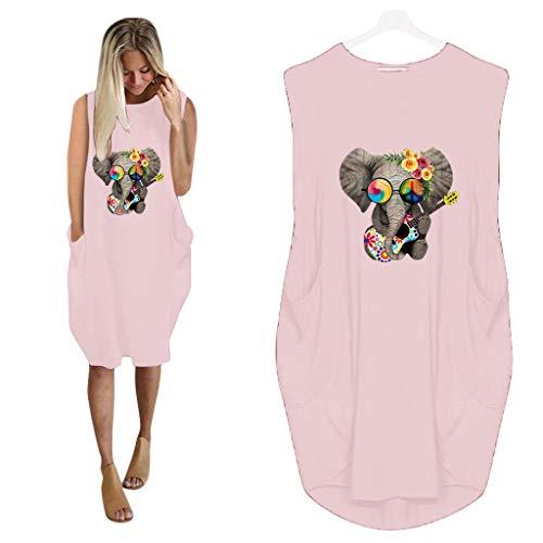 Binggong Pulloverkleid Damen Ärmellos Minikleid Elefant Muster Sweatshirt Sweatkleid Große Größen Tunika Oberteil Tops mit Taschen Rundhals Longpullover