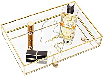 CHICHIC Gold Mirror Tray Jewelry Organizer Vanity Tray Jewelry Tray Perfume Tray Dresser Decorative Tray Glass Metal Makeup Tray for Bathroom Bedroom Cosmetics storage 11.8 x 7.9 Inch