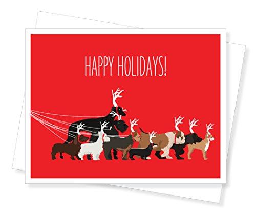 Dog Walk Holiday Christmas Cards, Set of 10 Greeting Cards