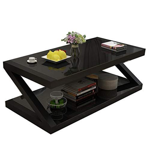 Mesa de centro Sala de estar Mesa de centro Mesa de té de vidrio templado Mesa de centro de café Mesa de café del hogar Elegante 80 * 60 * 42 cm Compartimiento de la mesa Estante Simple nórdico