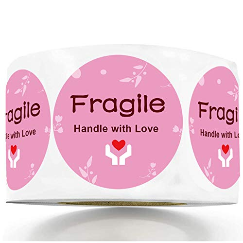 2 inch Handle with Love Tender Warning Sticker Small Moving Fragile Pink Thank You Shipping Labels for Luggage Gift Bag Small Business Mailing Packages 500 pcs per roll Heavy-Duty Handle with Care
