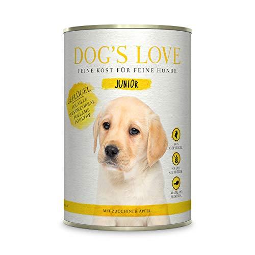 Hundefutter nass getreidefrei mit wichtigen Nährstoffen & hohem Fleischanteil – für Welpen von 6 Wochen bis 12 Monaten – Premium Nassfutter – Geflügel Junior (6 x 200g)