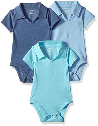 Hanes Ultimate Baby Flexy 3 Pack Short Sleeve Polo Bodysuits, Blues