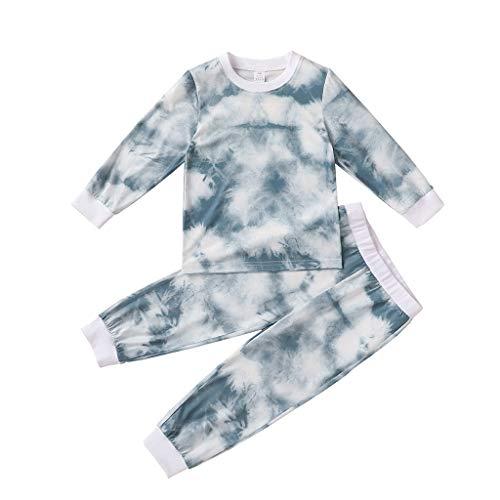 Kleinkind Kinder Baby Mädchen Tie-Dye Drucken Tops T-Shirt Hose Pyjama einstellen Outfits