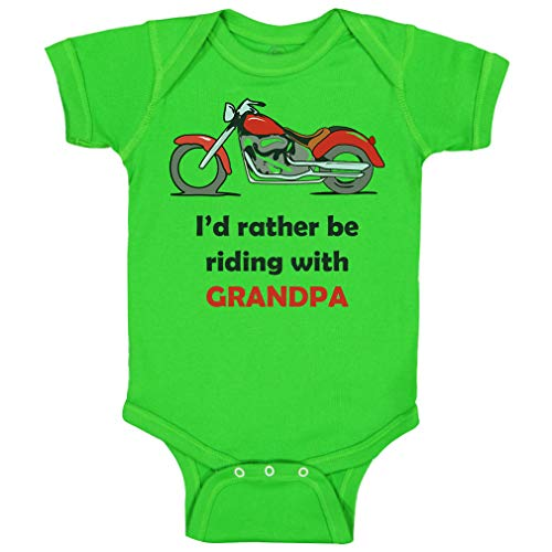 Custom Baby Bodysuit I'd Rather Be Riding with Grandpa Biking Bike Grandfather Dad Funny Cotton Boy & Girl Baby Clothes Green Apple Design Only 24 Months