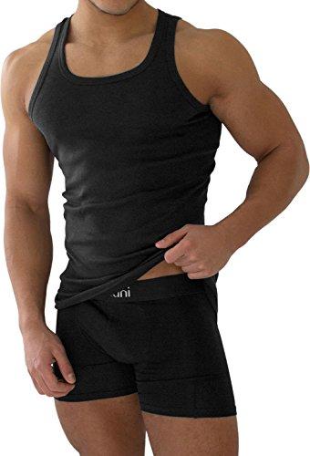 normani 4 x Tank Top schwarz - Herren Unterhemd Feinripp (glatt) - Sportjacke - 100% gekaemmte Baumwolle Einlaufvorbehandelt - original Exclusive Größe 9=XL
