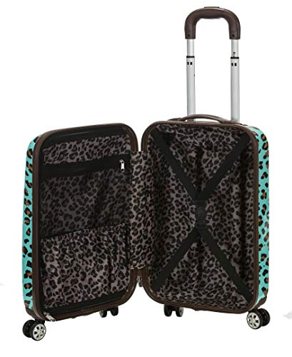 Rockland Safari Hardside Spinner Wheel Luggage, Blue Leopard, Carry-On 20-Inch